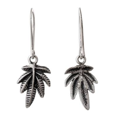Sterling silver dangle earrings, 'Leaves of Nature' - Andean Leaf Nature Theme Sterling Silver Dangle Earrings