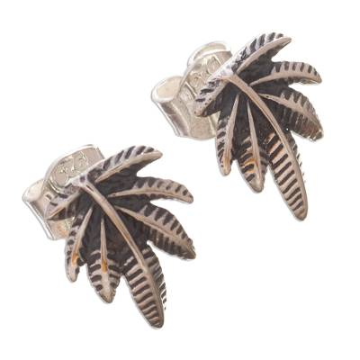 Andean Leaf Nature Theme Sterling Silver Button Earrings