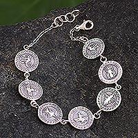 Sterling silver link bracelet, 'Nazca Allure' - Nazca Geoglyph Sterling Silver Link Bracelet
