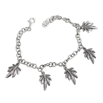 Andean Leaf Nature Theme Sterling Silver Charm Bracelet