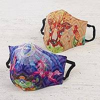 Cotton blend nose clip face masks, 'Fantasy Animals' (pair) - 3-Layer Cotton Blend Nose Clip Animal Print Masks (Pair)