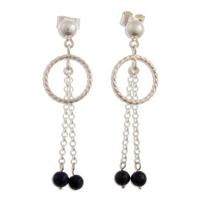Lapis lazuli dangle earrings, 'In the Swing of Things' - Sterling Silver and Lapis Lazuli Dangle Earrings