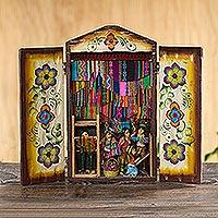 Wood retablo 'Busy Textile Market'  - Handcrafted Andean Textile Market Retablo Diorama