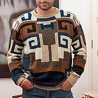 Men's 100% alpaca sweater, 'Chavin Geometry' - Intarsia Knit Alpaca Wool Men's Sweater