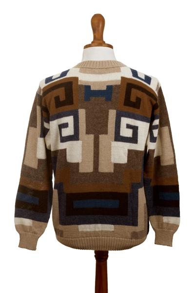 Men's 100% alpaca sweater, 'Chavin Geometry' - Intarsia Knit Alpaca Wool Men's Sweater