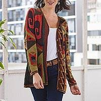 100% alpaca cardigan, 'Inca Geometry' - Multicolored Intarsia Knit Alpaca Wool Cardigan from Peru