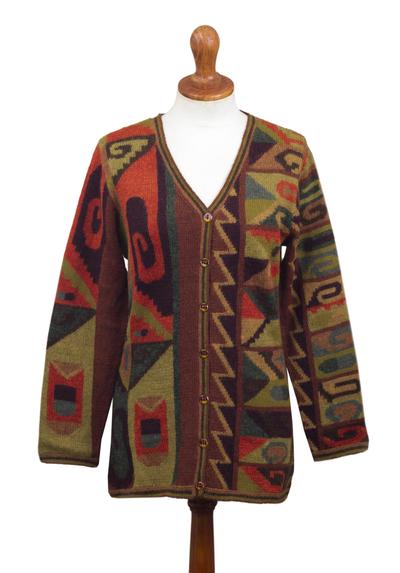 100% alpaca cardigan, 'Inca Geometry' - Multicolored Intarsia Knit Alpaca Wool Cardigan from Peru