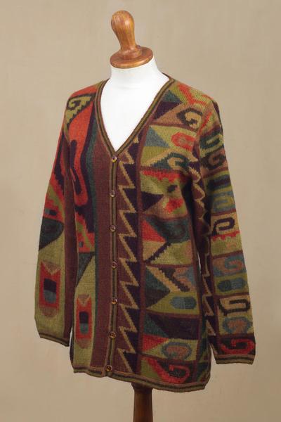 SALE Cardigan Intarsia knitted 100/% alpaca multicolor