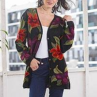 100% alpaca cardigan, 'Cusco Flowers in Black' - Alpaca Intarsia Knit Cardigan In Multicolored Floral