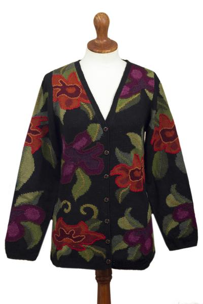 100% alpaca cardigan, 'Cusco Flowers in Black' - Alpaca Intarsia Knit Cardigan In Multicolored Floral