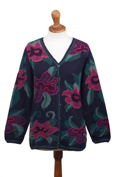 100% alpaca cardigan, 'Cusco Flowers in Blue' - Floral Intarsia Knit Cardigan Sweater in 100% Alpaca