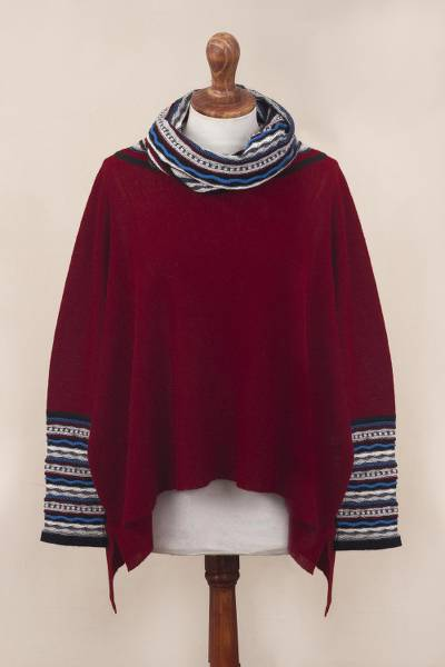 Alpaca blend poncho pullover, 'Festive Red Streamers' - Red Alpaca Blend Knit Pullover with Colorful Accents