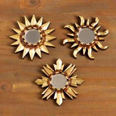Mirrored wood wall accents, 'Ancient Suns in Bronze' (set of 3) - Mirrored Wall Accents with Sun Shapes (Set of 3)