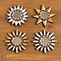 Mirrored wood wall accents, 'Ancient Stars' (set of 4) - Small Wood Mirrored Wall Accents (Set of 4)