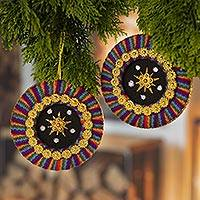 Embellished ornaments, 'Star of Bethlehem' (pair) - Colorful Handmade Christmas Ornaments from Peru (Pair)