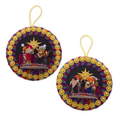 Handmade Peruvian Christmas Carol Ornaments (Pair)