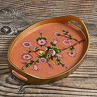 Reverse-painted glass tray, 'Birds of a Feather in Rose' - Reverse Painted Glass and Wood Tray from Peru