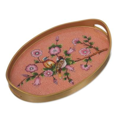 Reverse Painted Glass and Wood Tray from Peru