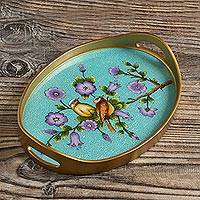 Reverse-painted glass tray, 'Birds of a Feather in Blue' - Bird and Flower Motif Reverse-Painted Glass Tray