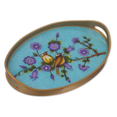 Bird and Flower Motif Reverse-Painted Glass Tray