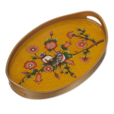 Bird and Flower Themed Reverse Painted Glass Tray