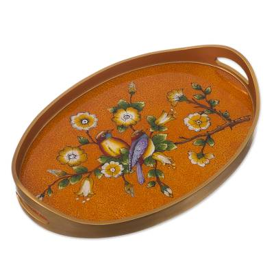 Spice Colored Reverse Painted Glass Serving Tray