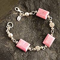 Rhodonite link bracelet, 'Coming Up Roses' - Rhodonite and Sterling Silver Link Bracelet