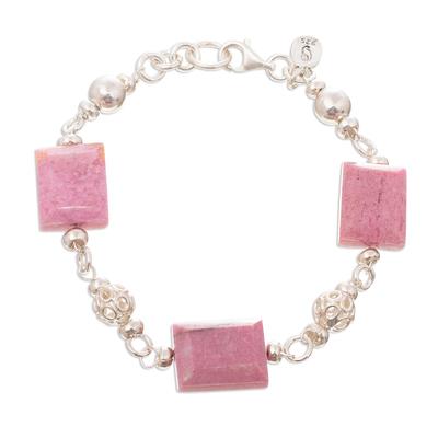 Rhodonite link bracelet, 'Coming Up Roses' - Rhodonite and Sterling Silver Link Bracelet