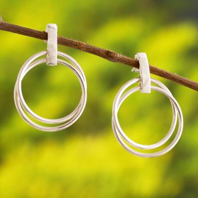Sterling silver drop earrings, Minimalism in the Round