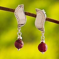 Carnelian dangle earrings, 'Andean Waves' - Wavy Sterling Silver and Carnelian Post Earrings