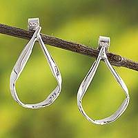 Sterling silver drop earrings, 'Sleek Stirrups' - Artisan Crafted Sterling Silver Drop Earrings