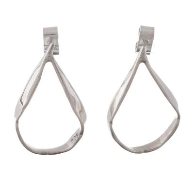 Sterling silver drop earrings, 'Sleek Stirrups' - Artisan Crafted Sterling Silver Drop Earrings