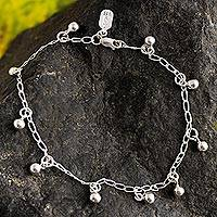 Sterling silver charm anklet, 'Modern Gypsy' - Sterling Silver Charm Anklet from Peru
