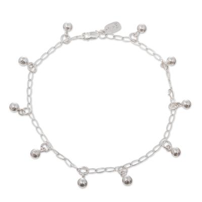 Sterling silver charm anklet, 'Modern Gypsy' - Sterling Silver Charm Anklet from Peru
