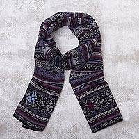 100% alpaca knit scarf, 'Sierra Charcoal' - Alpaca Wool Striped Knit Scarf from Peru