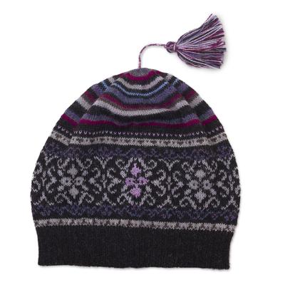 100% alpaca knit hat, 'Sierra Charcoal' - Tasseled 100% Alpaca Knit Hat in Charcoal