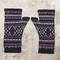100% alpaca fingerless mitts, 'Sierra Charcoal' - Fingerless Mitts Knit from 100% Alpaca