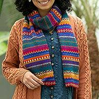 100% alpaca knit scarf, 'Sierra Rainbow' - Multicolored Knit 100% Alpaca Scarf