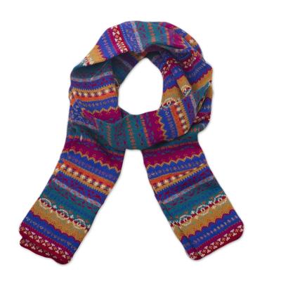 100% alpaca knit scarf, 'Sierra Rainbow' - Multicolored Knit 100% Alpaca Scarf