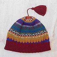 100% alpaca knit hat, 'Sierra Rainbow' - Colorful Patterned Alpaca Knit Hat