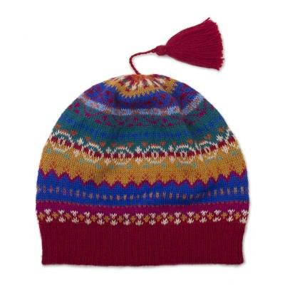 100% alpaca knit hat, 'Sierra Rainbow' - Colorful Patterned Alpaca Knit Hat