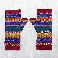 100% alpaca fingerless mitts, 'Sierra Rainbow' - Fingerless Mitts Knit from Multicolored Alpaca Wool