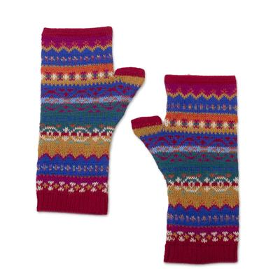 100% alpaca fingerless mitts, 'Sierra Rainbow' - Fingerless Mitts Knit from Multicolored Alpaca Wool