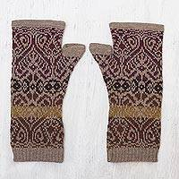 100% alpaca fingerless mitts, 'Cusco Earth' - Soft Alpaca Wool Fingerless Mitts in Earth Tones