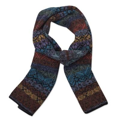 100% alpaca knit scarf, 'Cusco Cathedral' - Muted Multicolor Alpaca Knit Scarf from Peru