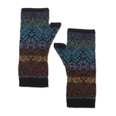 100% alpaca fingerless mitts, 'Earth and Sky' - Inca Inspired Alpaca Knit Fingerless Mitts