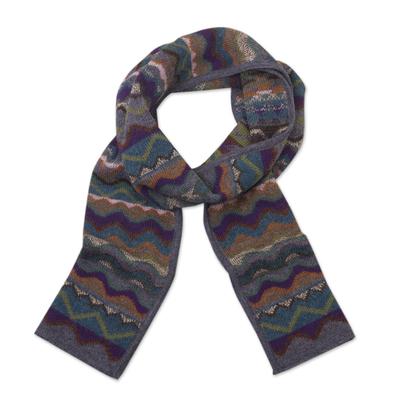100% alpaca knit scarf, 'Mountain of Seven Colors' - Zigzag Striped Alpaca Wool Scarf from Peru