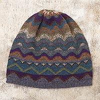 100% alpaca knit hat, 'Mountain of Seven Colors' - Multicolored Alpaca Wool Knit Hat for Women