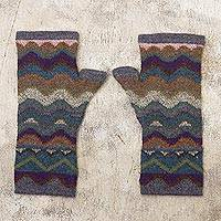 100% alpaca fingerless mitts, 'Mountain of Seven Colors' - Pure Alpaca Wool Multicolored Knit Hat