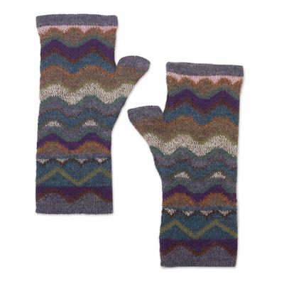 100% alpaca fingerless mitts, 'Mountain of Seven Colors' - Pure Alpaca Wool Multicolored Fingerless Mitts